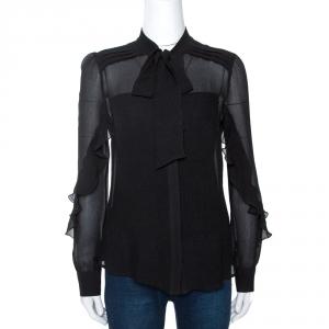 Etro Black Crinkled Silk Bow Detail Sheer Blouse M