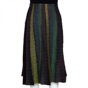 Etro Multicolor Wool and Alpaca Blend Paneled Midi Skirt M