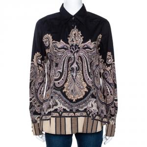 Etro Black & Beige Paisley Printed Stretch Cotton Button Front Shirt L