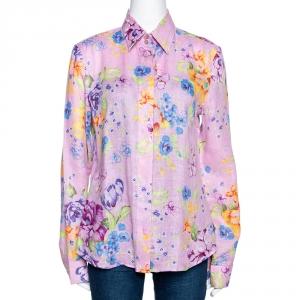 Etro Pink Floral Printed Linen Button Front Shirt L