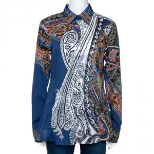 Etro Midnight Blue Tribal Accent Paisley Print Stretch Cotton Shirt L