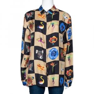 Etro Multicolor Checked Silk Twill Nature Print Button Front Shirt L