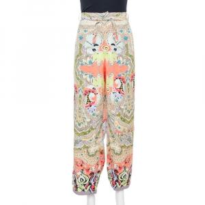 Etro Multicolor Floral Print Silk Crepe Palazzo Pants L