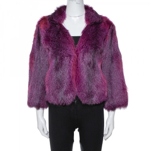 Etro Purple Fox Fur Jacket M