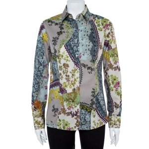 Etro Multicolor Floral Print Stretch Cotton Shirt L