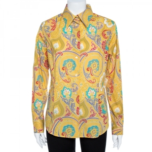 Etro Yellow Paisley Print Stretch Cotton Shirt L