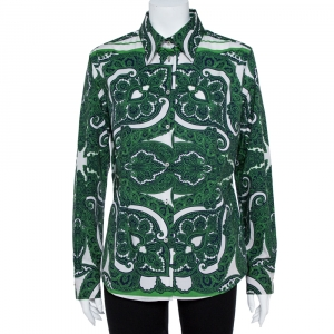 Etro Green Stretch Cotton Paisley Print Button front Shirt XL