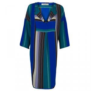 Etro Multicolor Striped Silk Long Sleeve Tunic Dress M used