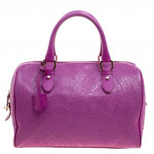 Etro Pink Embossed Leather Satchel