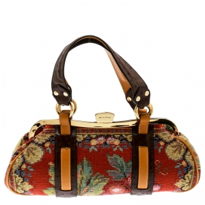 Etro Multicolor Fabric and Ostrich Embossed Leather Frame Satchel