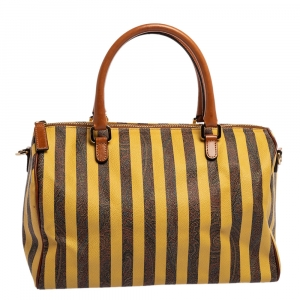 Etro Brown/Yellow Striped Paisley Prited Coated Canvas Bowler Bag