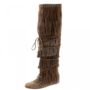 Etro Brown/Beige Suede Glastonbury Fringe Keen Length Boots Size 36.5 - used