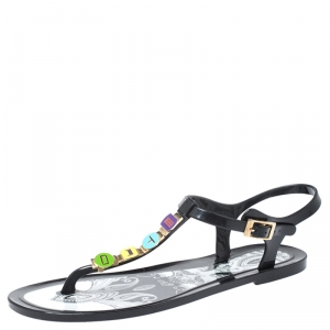 Etro Black Jelly Multicolor Metal Logo Embellished Thong Flats Size 39