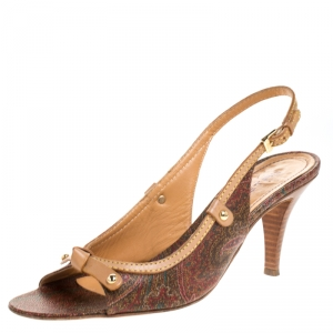 Etro Brown Paisley Print Coated Canvas and Leather Open Toe Slingback Sandals Size 39.5 - used
