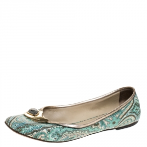 Etro Green Paisley Printed Coated Canvas Embellished Ballet Flats Size 40 - used
