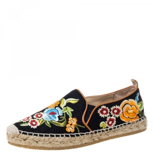 Etro Black/Multicolor Embroidered Fabric Espadrille Flats Size 36