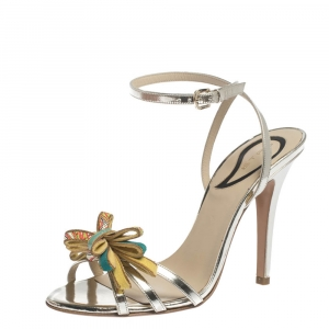 Etro Metallic Gold Leather Bow Slingback Ankle Wrap Sandals Size 37 - used