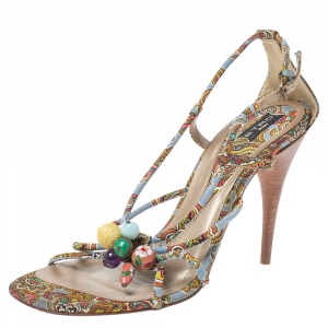 Etro Multicolor Fabric Paisley Print Strappy Embellished Open Toe Ankle Strap Sandals Size 40 - used