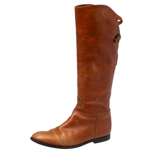 Etro Brown Leather Midcalf Boots Size 38 - used