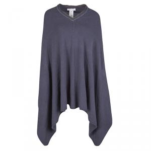 Fabiana Filippi Grey Nickel Embellished V-Neck Poncho M