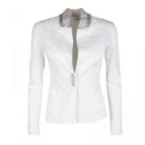 Fabiana Filippi White Contrast Collar Detail Cotton Linen Jacket XS