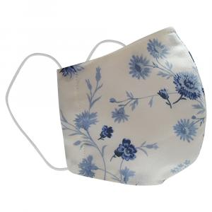 Non-Medical Handmade White/Blue Floral Printed Cotton Face Mask - Pack Of 2 (Available for UAE Customers Only)