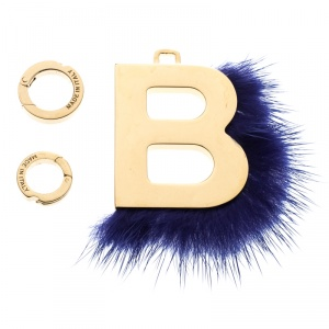 Fendi Gold Tone Abclick Letter B Mink Charm