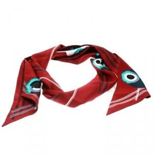 Fendi Red Monster Print Silk Maxi Wrappy Scarf