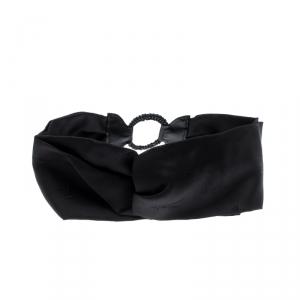 Fendi Black Silk Twill Leather Trim Detail Headband