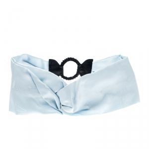 Fendi Blue Silk Twill Leather Trim Detail Headband