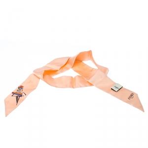 Fendi Pink Silk Twilly Jacquard Bamboline Magnolia Bandeau Scarf