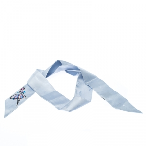 Fendi Blue Silk Twilly Jacquard Bamboline Artico Bandeau Scarf