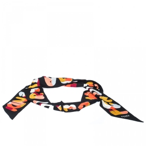 Fendi Black Printed Silk Twilly Roma Bandeau Scarf