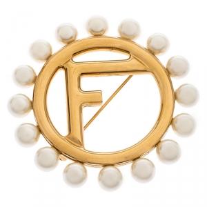 Fendi Faux Pearl Gold Tone Pin Brooch