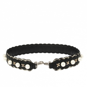 Fendi Black Leather Faux Pearl Embellished Strap You Bag Strap