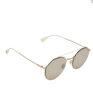 Fendi Gold Tone/Brown FF M0021/S Rounded Aviator Sunglasses