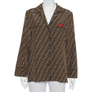 Fendi Brown Zucca Monogram Silk Button Front Shirt M