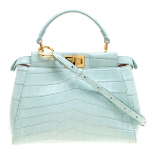 Fendi Mint Green Crocodile Mini Peekaboo Top Handle Bag