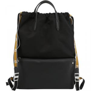 Fendi Black Nylon and Leather Vocabulary Tote Backpack