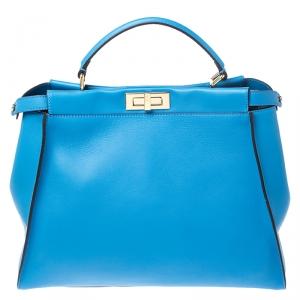 Fendi Blue Leather Large Peekaboo Top Handle Bag