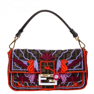 Fendi Tobacco Zucca Canvas and Multicolor Embroidered Convertible Baguette Bag