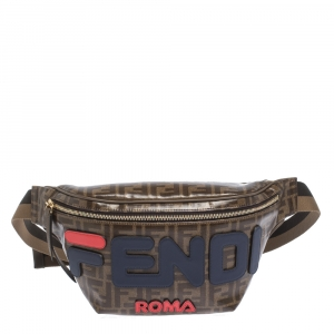 Fendi Brown Zucca Coated Canvas Spalmati Mania Belt Bag