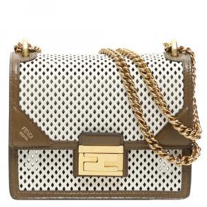 Fendi White Perforated Leather Kan U Shoulder Bag