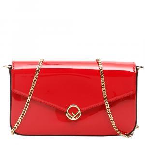Fendi Red Patent Leather Buckle Mini Bag
