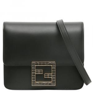 Fendi Black Leather Fab Crystal Shoulder Bag
