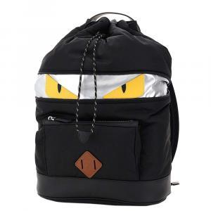 حقيبة ظهر فندي مونستر جلد وكانفاس سوداء