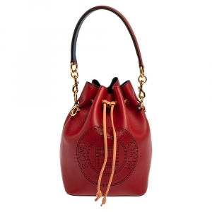 Fendi Red Perforated Leather Mini Mon Tresor Bucket Bag