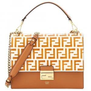 Fendi Brown/White Leather Kan Bag