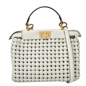 Fendi White Woven Leather Mini Peekaboo Top Handle Bag