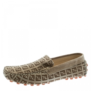 Fendi Beige Monogram Print Suede Loafers Size 39